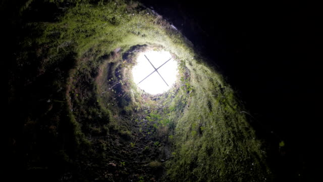 Interior of an ancient Roman well video