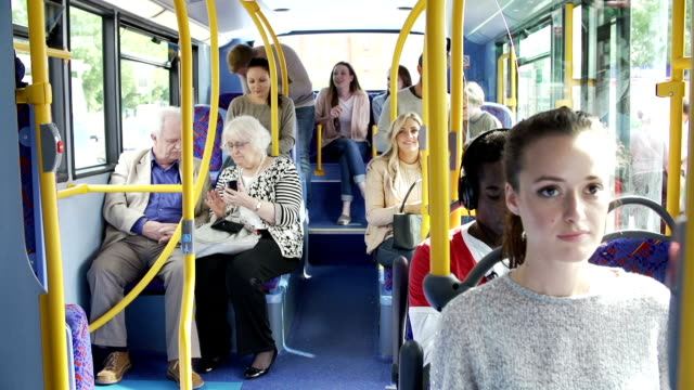 Interior Of Bus With Passengers Getting On video