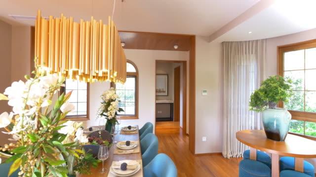 interior of dining room  4k video