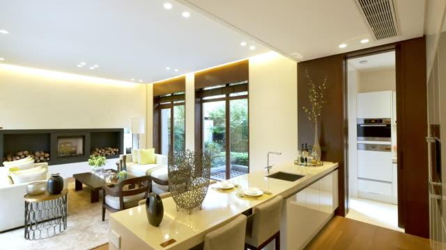 interior of modern dining room  4k video
