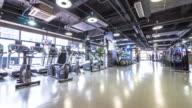 interior of modern gym. timelapse 4k video