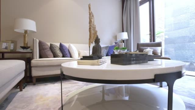 interior of modern living room 4k video
