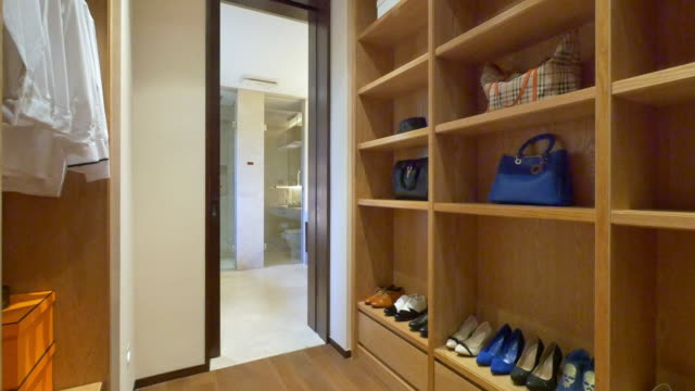 interior of modern wardrobe 4k video