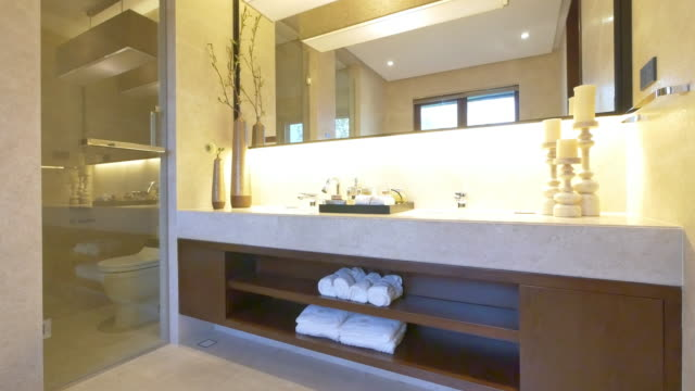 interior of modern washroom 4k video