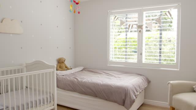 Interior Of Stylish Child's Nursery Shot In Slow Motion video