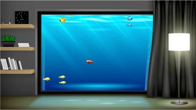 Interior underwater hotel video