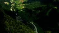 Interlaken city, alpine valley and stream aerial time lapse video