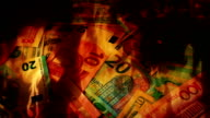 International Banknotes In Flames Abstract video