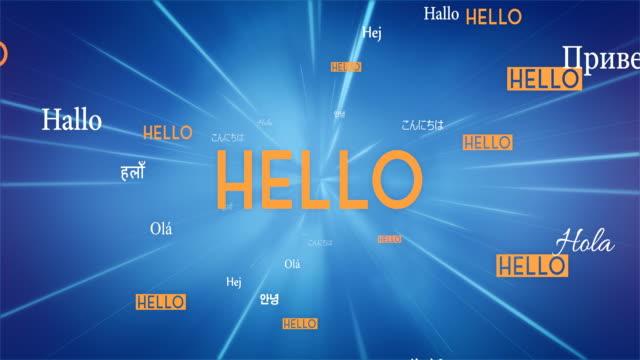 International HELLO Words Flying Towards Camera (Blue) - Loop video