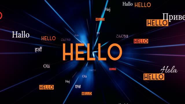 International HELLO Words Flying Towards Camera (Black) - Loop video