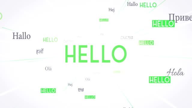 International HELLO Words Flying Towards Camera (White) - Loop video