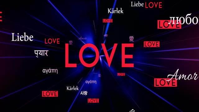 International LOVE Words Flying Towards Camera (Black) - Loop video