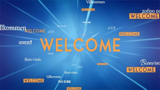 International WELCOME Words Flying Towards Camera (Blue) - Loop video