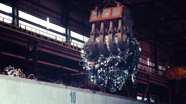 'Interpipe' plant in Dnepropetrovsk region Ukraine. One of the largest recycler of scrap metal in Ukraine. ladle transports steel scrap for recycling. video