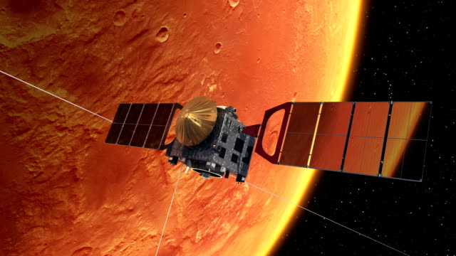 Interplanetary Space Station Deploys Solar Panels In Orbit Of The Mars video