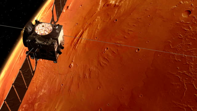 Interplanetary Space Station Orbiting Red Planet video