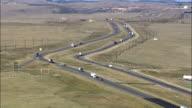 Interstate 80 And Trucks  - Aerial View - Wyoming, Laramie County, United States video