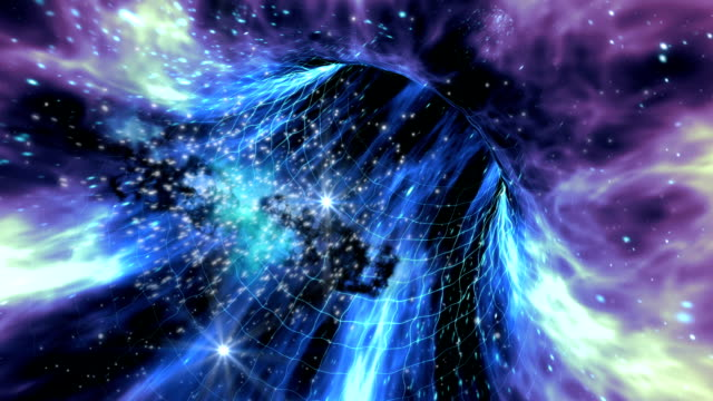 Interstellar wormhole travel with space-time grid video