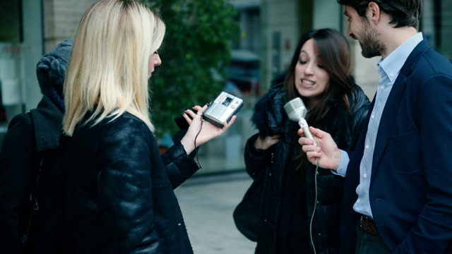 TV interview in the streets video