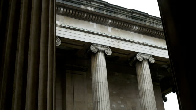 Ionic Capital Columns on Rainy Day video