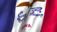 Iowa State Flag - waving, looping video