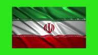 Iran flag waving,loopable on green screen video
