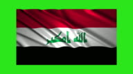 Iraq flag waving,loopable on green screen video