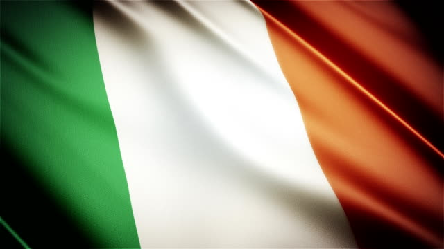 Ireland realistic national flag seamless looped waving animation video