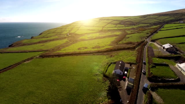 Ireland sunset at the ring of Kerry Aerial shot video