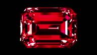 Iridescent Ruby Emerald Cut. Looped. Alpha Matte. video