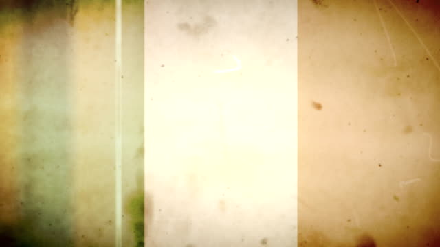 Irish Flag - Grungy Retro Old Film Loop with Audio video