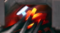 Iron forge closeup in a blacksmith. video