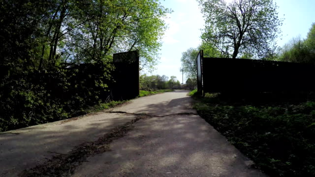 Iron gate and concrete path video