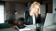 Irritated Businesswoman Cancelling Plan And Crumpling Paper While Using Laptop video