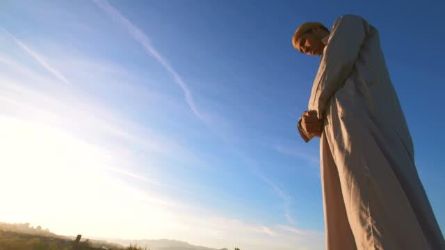 HD: Islamic Man Praying Outdoors video