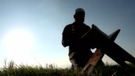 Islamic Man Reading Quran In The Grass video