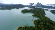 Island in dam top view video