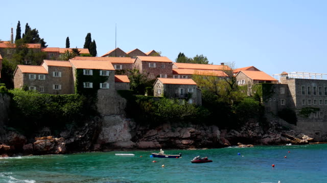 Island of Sveti Stefan, close-up of the island in the afternoon video