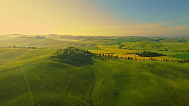 AERIAL Isolated villa in the Tuscany video