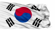 Isolated Waving National Flag of South Korea video