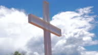 Isolated White Metal Cross with Dramatic Sky video