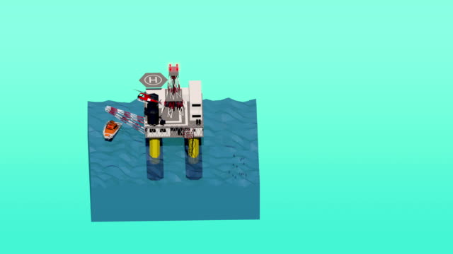 Isometric Low Poly Mini World Oil rig video