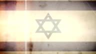Israeli Flag - Grungy Retro Old Film Loop with Audio video