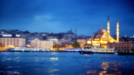 Istanbul Bosphorus River with boat crossing at night video