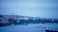 Istanbul city in Turkey & Maiden Tower, time-lapse video