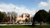 Istanbul Hagia Sophia from park wide shot sunny day video