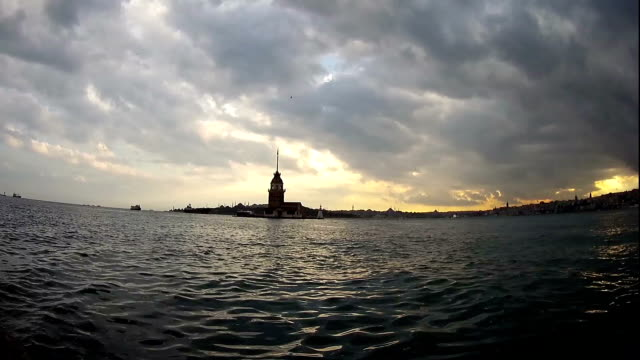 Istanbul Maiden's Tower and seascape time lapse video