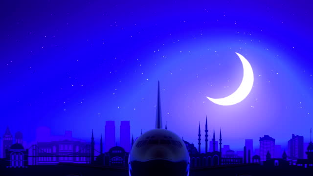 Istanbul Turkey Airplane Take Off Moon Night Blue Skyline Travel video