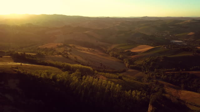 Italian beautiful rural landscape seen from above at sunset video