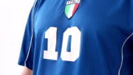 Italian Footballer stopping a ball with his breast video